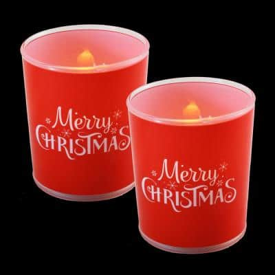 Battery Operated Glass LED Merry Christmas Candles (Set of 2)