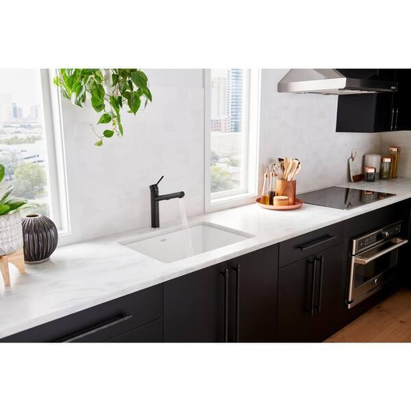 Blanco Precis Undermount Granite Composite 27 In Single Bowl Kitchen Sink White 522429 The Home Depot
