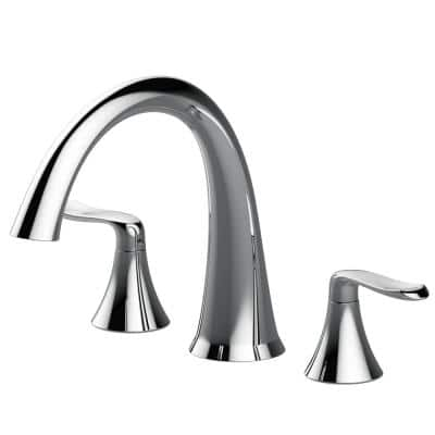 PICCOLO 2-Handle Deck Mount Roman Tub Faucet in Polished Chrome