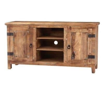 Holbrook 58 in. Natural Reclaimed Wood TV Stand with Storage Doors