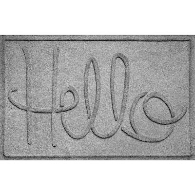 Hello 23 in. x 35 in. PET Polyester Doormat Medium Gray