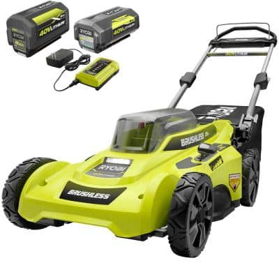 20 in. 40-Volt Brushless Lithium-Ion Cordless Battery Walk Behind Push Lawn Mower two 6.0 AhBatteries & Charger Included