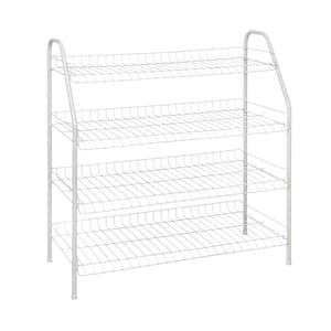 28 in. H x 26 in W x 12 in. D 4-Shelf 12-Pair Ventilated Wire Shoe Organizer in White