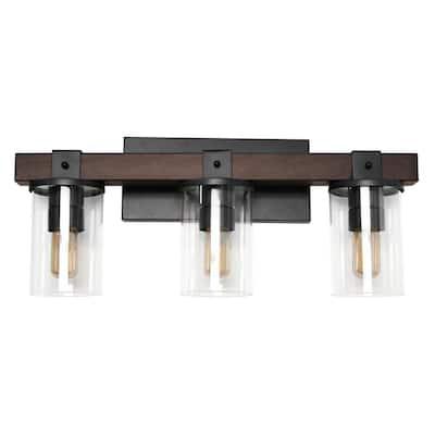3-Light Brown Industrial Rustic Lantern Restored Wood Look Bath Vanity Light