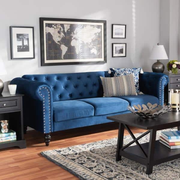 Baxton Studio Emma 83 1 In Navy Blue Black Fabric 3 Seater Chesterfield Sofa With Round Arms 163 10309 Hd The Home Depot