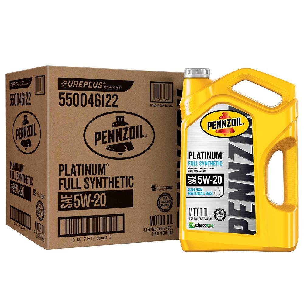 Pennzoil Platinum SAE 5W-20 Full Synthetic Motor Oil - 5 Qt. (3-Pack)