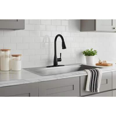 Sadira Single-Handle Pull-Down Sprayer Kitchen Faucet in Matte Black