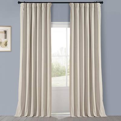 Au Lait Creme Velvet Rod Pocket Room Darkening Curtain - 50 in. W x 108 in. L