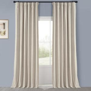 Au Lait Creme Velvet Rod Pocket Room Darkening Curtain - 50 in. W x 96 in. L
