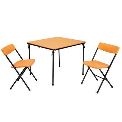 3-Piece Orange Fold-in-Half Folding Table Set