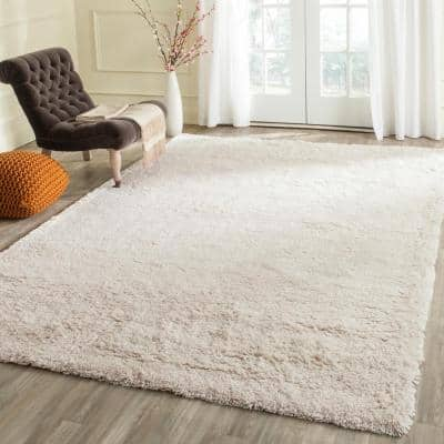 Classic Shag Ultra White 9 ft. x 9 ft. Square Solid Area Rug
