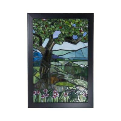 View Mt Mansfield 18 in. Wall Art Decor with Hand Rolled Art Glass Style