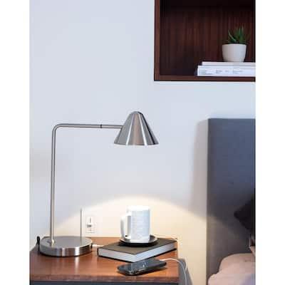 Cove 19 in. Satin Nickel Table Lamp