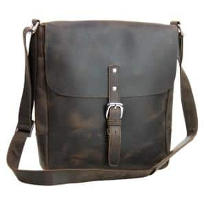 13 in. Dark Brown Full Grain Leather Slim Messenger Laptop Bag with 11.5 in. Laptop Compartment