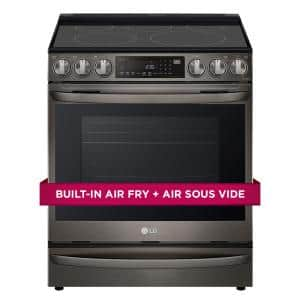 6.3 cu. ft. Smart Slide-In Electric Range with ProBake Convection & Air Sous Vide in PrintProof Black Stainless Steel