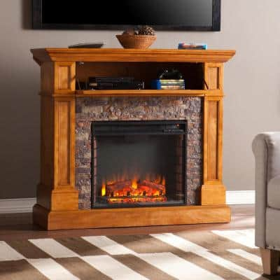 Bridgewater 45.5 in. Stone Look Convertible Electric Fireplace TV Stand in Sienna