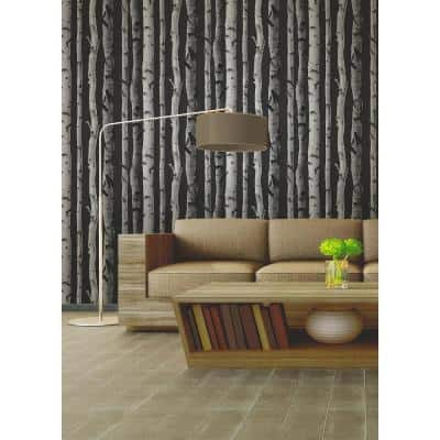 Distinctive Black Birch Tree Black Wallpaper Sample