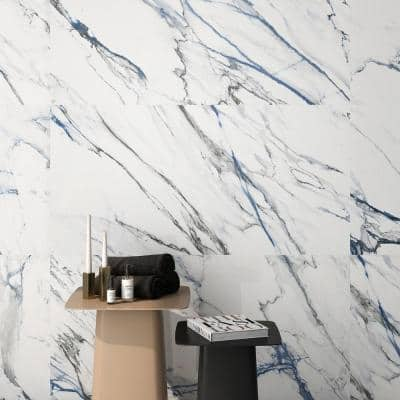 Calacatta Indigo 24 in. x 48 in. Polished Porcelain Floor and Wall Tile (2-Piece, 15.49 sq. ft./Case)