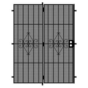 Su Casa 72 in. x 80 in. Black Projection Mount Outswing Steel Patio Security Door with Expanded Metal Screen