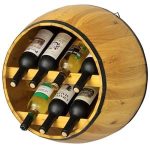 Wooden Brown Hanging Wine Barrel Wine Rack 7 Bottle Capacity