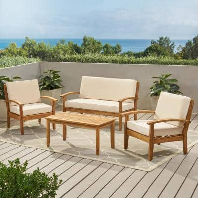 Peyton Teak Finish 4-Piece Wood Patio Conversation Set with Beige Cushions