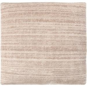 Anita 27 in. x 27 in. Beige Striped Polyester Standard Throw Pillow