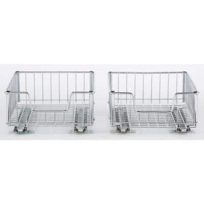 EcoStorage 11.5 in. W x 17.75 in. D x 6.25 in. H Chrome Wire in Cabinet Pull-Out Bottom Mount Wire Drawer - (2-Pack)