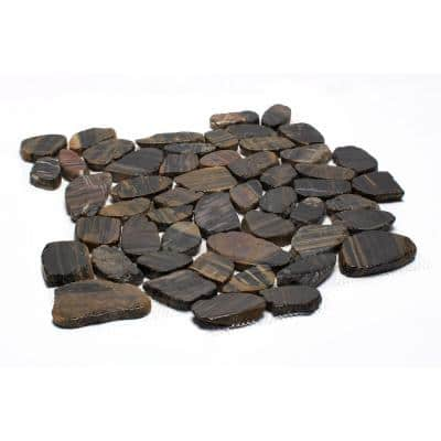 12 in. x 12 in. Striped Sliced High-Polish Pebble Stone Floor and Wall Tile (5.0 sq. ft. / case)