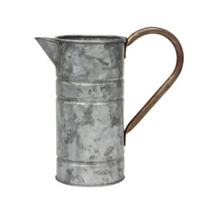9.5 in. x 9.5 in. Antique Galvanized Metal Watering Can with Handle