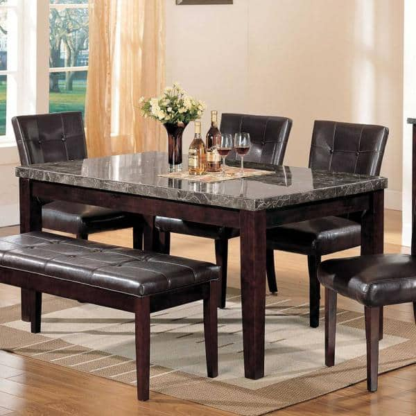 Homeroots Amelia Black Marble Wood Dining Table For Seats Of 4 346981 The Home Depot