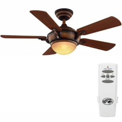 Midili 44 in. Indoor LED Gilded Espresso Dry Rated Ceiling Fan with 5 Reversible Blades, Light Kit and Remote Control