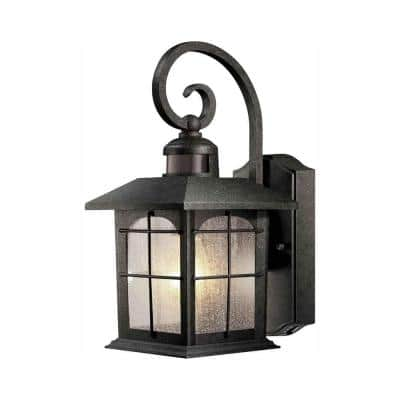 Brimfield 220° 1-Light Aged Iron Motion-Sensing Outdoor Wall Lantern Sconce
