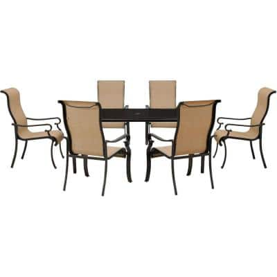 Brigantine 7-Piece Outdoor Rectangular Patio Dining Set with Glass-Top Table