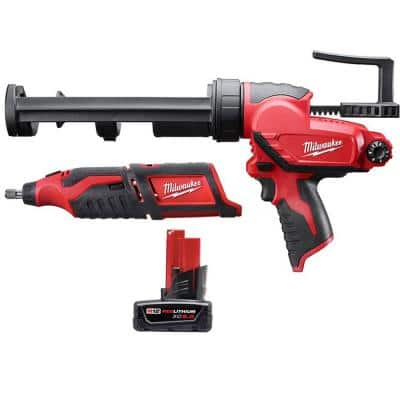 M12 12-Volt Lithium-Ion Cordless Rotary Tool with M12 10 oz. Caulk and Adhesive Gun and 6.0 Ah XC Battery Pack