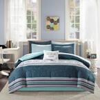 Gloria 9-Piece Blue Queen Comforter Set