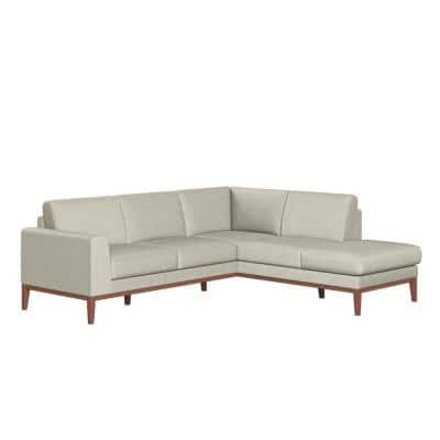 Clydesdale 2-Piece Light Beige Fabric L-Shaped Right Facing Chaise Sectional Sofa with Tapered Wood Legs