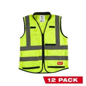 Performance 3X-Large /4X-Large Yellow Class 2-High Visibility Safety Vest with 15 Pockets (12-Pack)