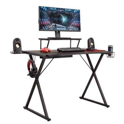 airLIFT 41.7 in. x 23.3 in. Black Gaming eSports Computer Desk X-Frame with Removable Monitor Riser