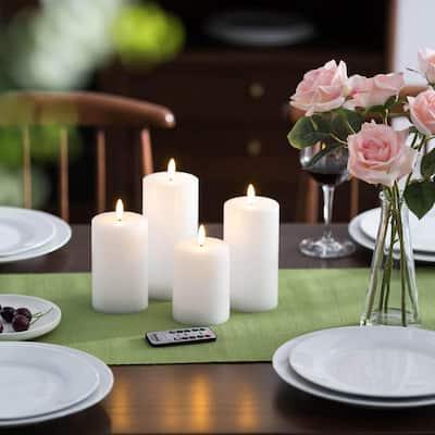 Bright White LED Flameless Pillar Candles (Set of 4)