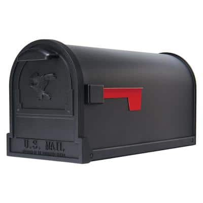 Arlington Large, Steel, Post-Mount Mailbox, Black