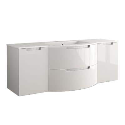 Oasi 67 in. W x 20-1/2 in. D Bath Vanity in Glossy Sand with Tekorlux Vanity Top in White with White Basin