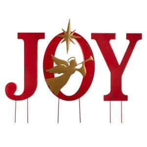 36.02 in. H Metal JOY Angel Yard Stake or Wall Decor or Standing Decor (KD, Three Functions)