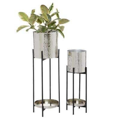 24 in. and 32 in. Silver Hammered Round Metal Planters (Set of 2)