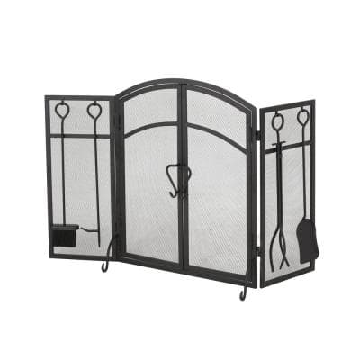 Brightwell Matte Black Metal 3-Panel Fireplace Screen with Door and Tools