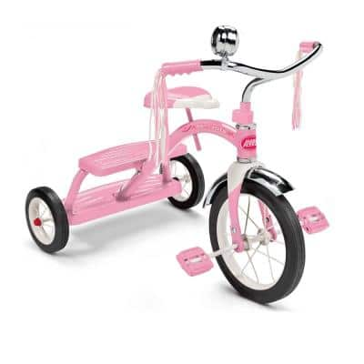 33PZ Kids Classic Style Dual Deck Tricycle with Handlebar Bell, Pink