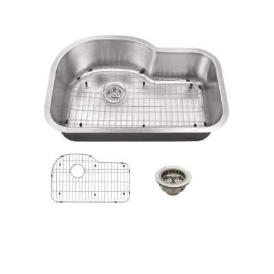 Undermount 18-Gauge Stainless Steel 31-1/2 in. 0-Hole Single Bowl Kitchen Sink with Grid and Drain Assembly