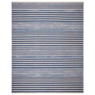 Ione Blue/Cream 8 ft. x 10 ft. Striped Low Pile Area Rug
