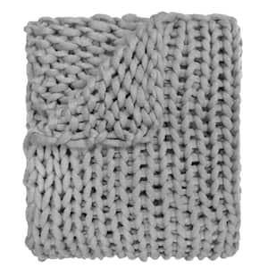 Grey Acrylic Chunky Knitted Throw