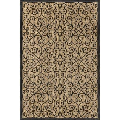 Madrid Vintage Filigree Black/Khaki 7 ft. 9 in. x 10 ft. Textured Weave Indoor/Outdoor Area Rug