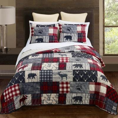 Timber 3-Piece Red Polyster Queen Quilt Set